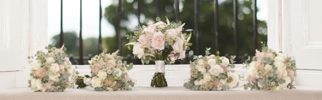 white and blush pink wedding bouquets AVE Creations