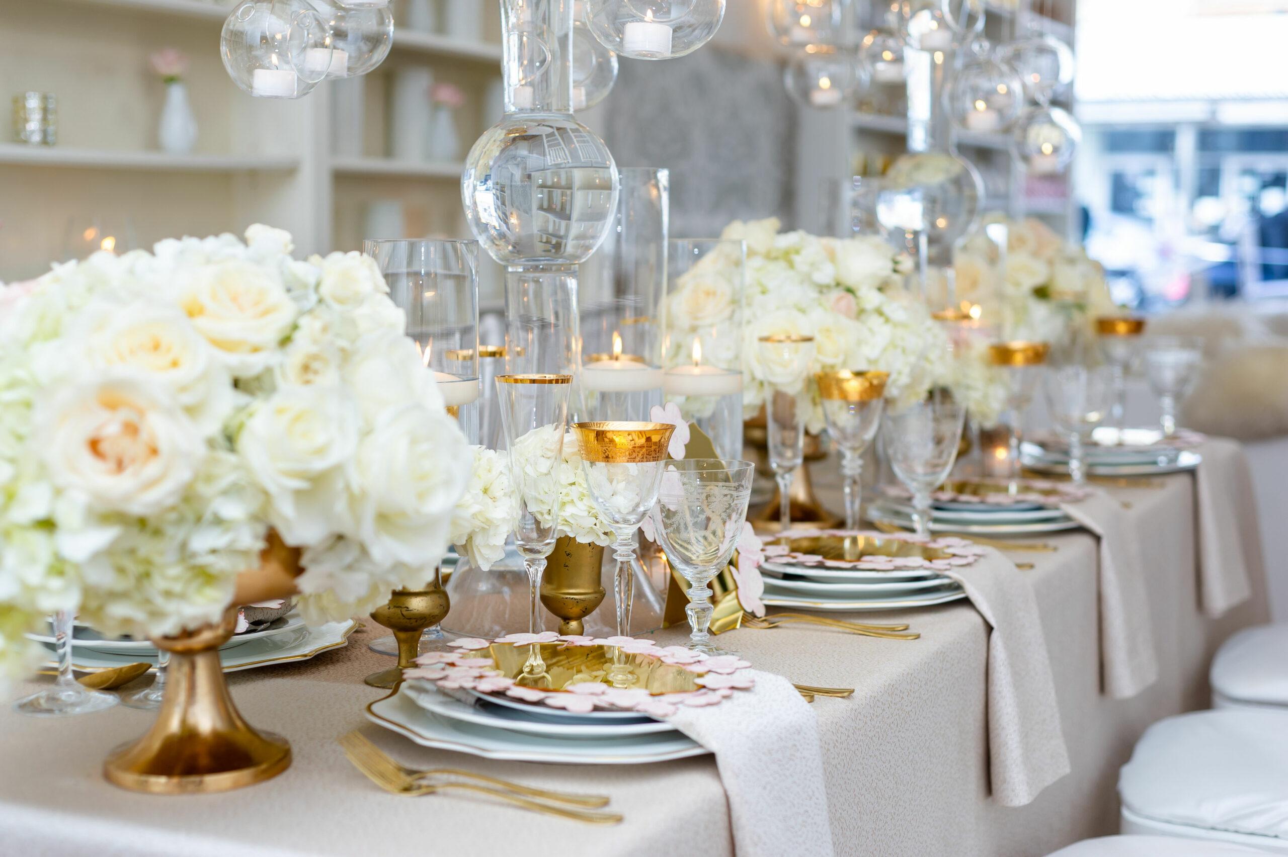 White cream wedding centerpiece