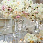 White cream gold and blush flower wedding centerpiece