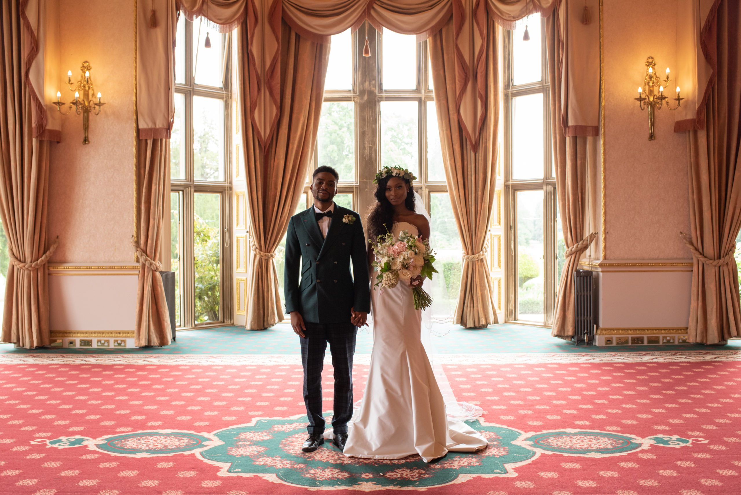 multicultural bride and groom in a room