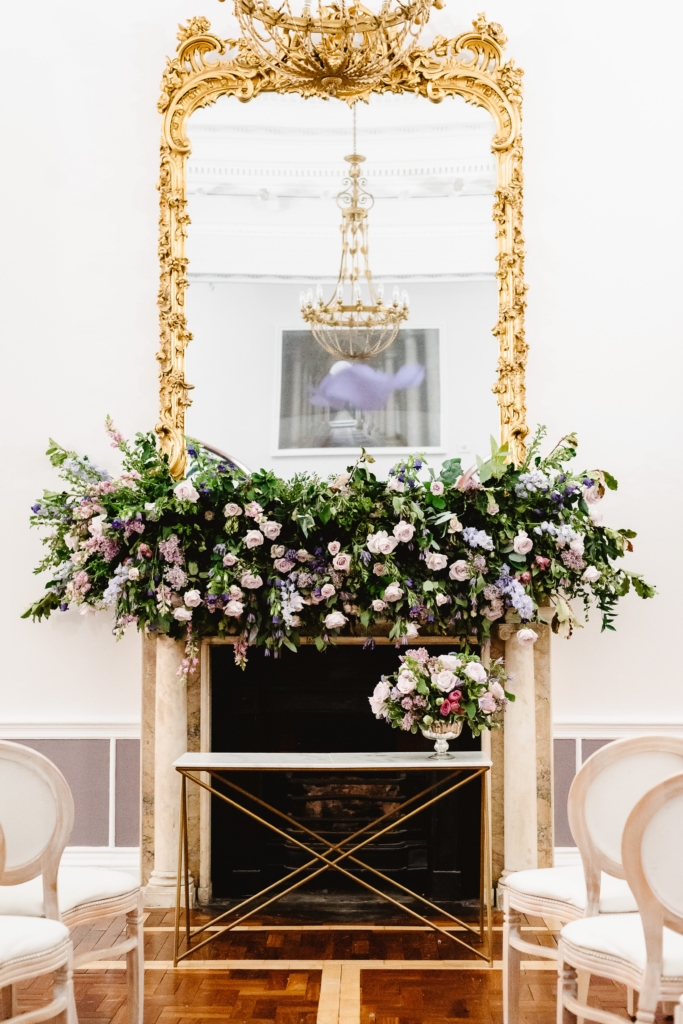 Flower covered fireplace