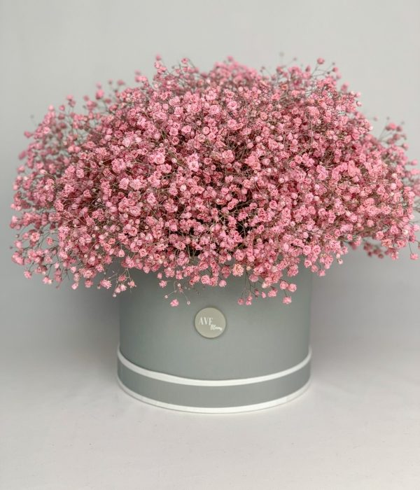 Pink gypsophila hat box