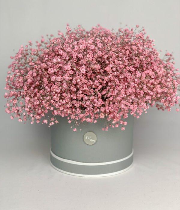 Pink gypsophila hat box