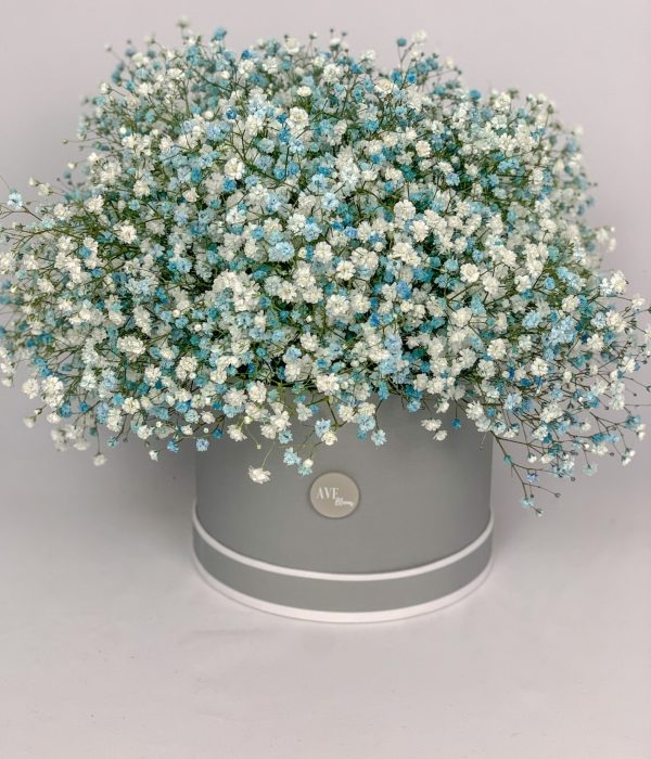 Blue gypsophila hat box