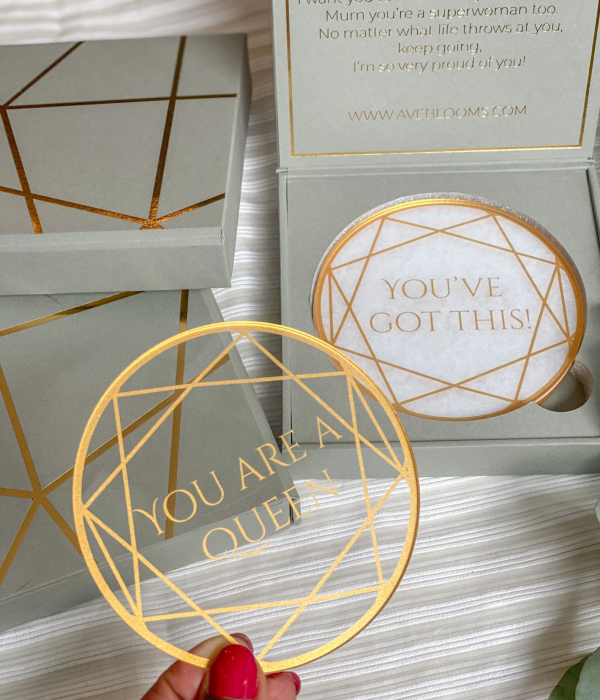 gold and clear acrylic coaster